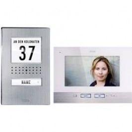 Kabelový domovní video telefon m-e modern-electronics, nerezová ocel, bílá, kompletní sada