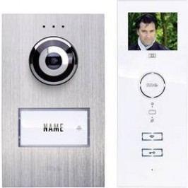 Kabelový domovní telefon m-e modern-electronics, pro 1 rodinu, stříbrná, bílá, kompletní sada