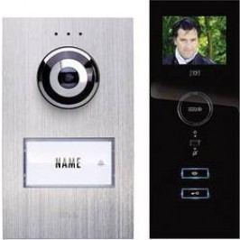 Kabelový domovní telefon m-e modern-electronics, pro 1 rodinu, stříbrná, černá, kompletní sada