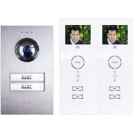 Kabelový domovní telefon m-e modern-electronics, pro 2 rodiny, stříbrná, bílá, kompletní sada