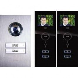 Kabelový domovní telefon m-e modern-electronics, pro 2 rodiny, stříbrná, černá, kompletní sada