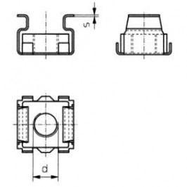 Klecové matice, M6, 2,5 mm, ocel, 10 ks