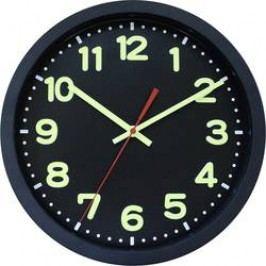 DCF nástěnné hodiny EuroTime Funkwanduhr 30cm, schwarz, 12-Zahlen-ZB mit Leuchtziffern, Leuchtzeiger, 53861-05, vnější Ø 30 cm, černá