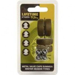 Čepičky na ventilky Lifetime Cars o5824 4 ks, stříbrná, černá
