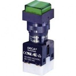 Tlačítko bez aretace DECA ADA16S6-MS1-B2KG, 250 V/AC, 5 A, zelená, 1x vyp/(zap), zelená