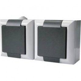 Zásuvka Schuko s krytem GAO Business-Line 9168, dvojitá, šedá