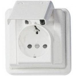 Zásuvka s krytkou Kopp Arktis, IP44, bílá