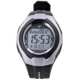Digitální náramkové DCF hodinky, plastový pásek, černá/stříbrná
