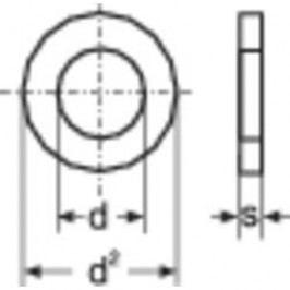 Podložka plochá TOOLCRAFT 814717, vnitřní Ø: 6.4 mm, ocel, 100 ks