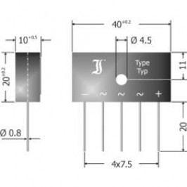 Můstkový usměrňovač Diotec DBI6-12, 3fázový, 1200 V, 6 A