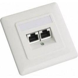 Síťová zásuvka pod omítku Setec 604666, CAT 5e, 2 porty, perlově bílá