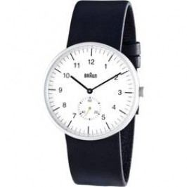 Ručičkové náramkové hodinky Braun Quartz, kožený pásek, bílá/černá