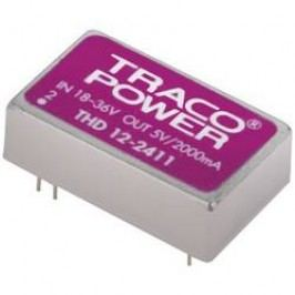 DC/DC měnič TracoPower THD 12-2422, vstup 18 - 36 V/DC, výstup ±12 V/DC, ±500 mA, 12 W