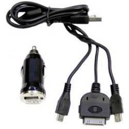 Nabíjecí systém 3 v 1 do autozásuvky, microUSB/miniUSB/USB, 12/24 V ⇔ 5 V, 1 A