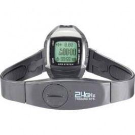 Sportovní hodinky s měřením pulzu s GPS MULTI NAV-3, černá/stříbrná