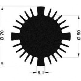 LED chladič Fischer Elektronik SK 570 50 SA 10021467, 1.35 K/W, (Ø x v) 70 mm x 50 mm