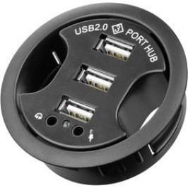 Vestavný USB 2.0 hub 60 mm + audio zásuvky, 3-portový