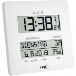 Digitální nástěnné DCF hodiny Jumbo TFA EFWU 1601, 60.4509.02, 27 x 195 x 195 mm, bílá