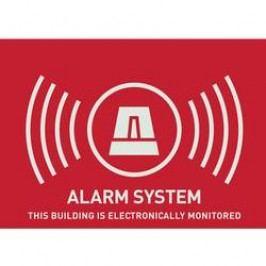 Nálepka Zabezpečeno alarmem ABUS AU1315, anglicky, 74 x 52,5 mm