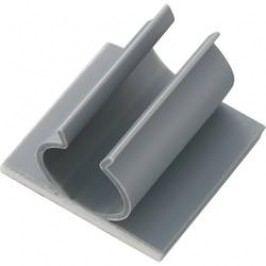 Samolepicí držák kabelů Conrad Components šedá, 1 ks