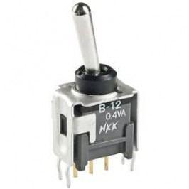 Páčkový přepínač NKK Switches B13JV, 28 V/DC, 0,1 A, pájecí piny, 1x zap/vyp/zap
