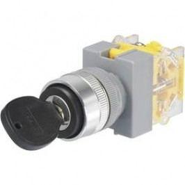 Spínač s klíčem Y090-A-20Y/32, 2x 45 °, 22 mm, 250 V/AC, 5 A, 2x zap/vyp/(zap), černá