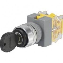 Spínač s klíčem Y090-A-20Y/33, 2x 45 °, 22 mm, 250 V/AC, 5 A, 2x (zap)/vyp/(zap), černá