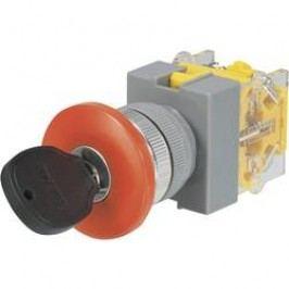 Spínač s klíčem Y090-A-20YM/32, 2x 45 °, 22 mm, 250 V/AC, 5 A, 2x zap/vyp/(zap), červená
