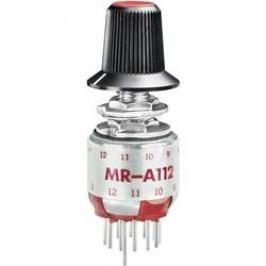 Otočný přepínač do DPS NKK Switches MRA112-A, 1x 2 - 12 pozic, 1x 30 °, 125 V/AC, 0,25 A