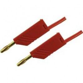 Měřicí kabel banánek 4 mm ⇔ banánek 4 mm SKS Hirschmann MLN 200/2,5 Au, 2 m, červená