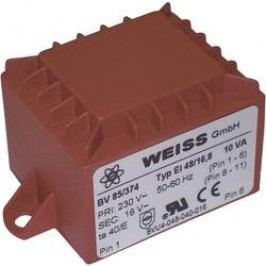 Transformátor do DPS Weiss Elektrotechnik EI 48, prim: 230 V, Sek: 12 V, 833 mA, 10 VA